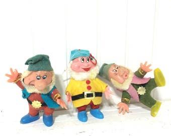 3 Vintage Dwarf Christmas Ornaments