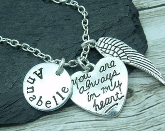 Always in my heart bereavement necklace, bereavement hand stamped necklace, angel wing jewellery, angel wing gift, angel wing pendant