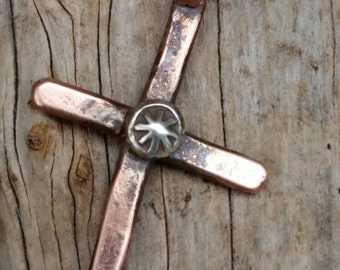 Rustic cross. Cowboy cross. Cross necklace. Copper cross. Cowgirl cross. Western jewelry. Copper necklace. Cross pendant necklace. Simple.