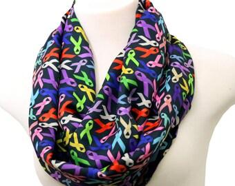 Cancer awareness scarf for cancer survivor scarf cancer patient gift for cancer patients cancer gift infinity scarf black satin scarf spring