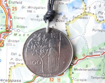 Italian coin necklace - 2 different designs - made of an original coins from Italy