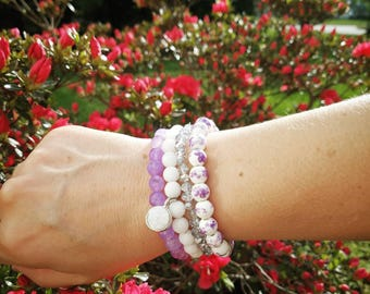Lilac Beaded Stack