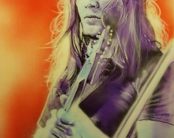 David Gilmour from Pink Floyd airbrushed on 24x18 inch canvas