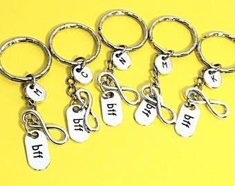 Best friends keychain - set of five, bff charm, 5 bff keychain, set of 5 best friend,always keychain, friends forever, infinity,gift for bff
