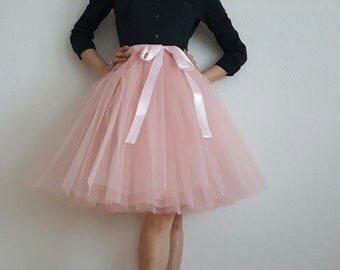 Tulle skirt petticoat old rose skirt length 55 cm