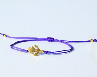 Simple Leaf   bracelet- Friendship Leaf  Bracelet - Sorority bracelet-Leaf String Bracelet - Little Big Bracelet-Yoga Bracelet