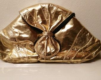 Large Vintage metallic gold leather clutch bag