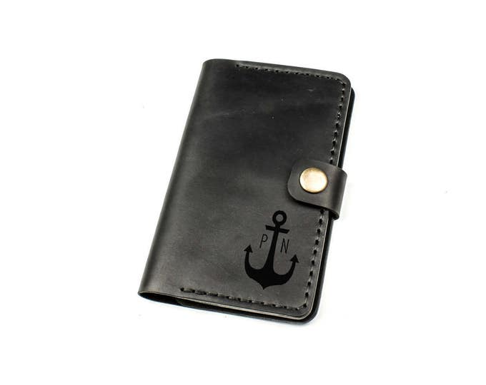 Personalized Field Notes cover - Field Notes cover - Field Notes leather cover - Custom Field Notes holder - Black leather cardholder