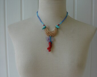 Necklace AMETHYST and CORAL