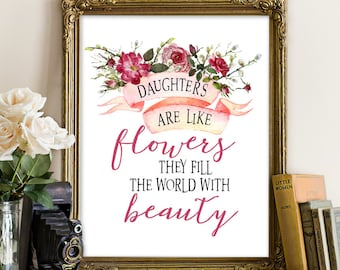 Daughter printable, daughter print, daughter quote, girl nursery decor, nursery decor, floral nursery decor, girl nursery art, nursery wall