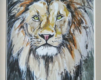 Lion print watercolour painting art limited edition hand finished giclee print wildlife art, Majestic