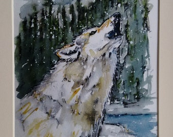 Wolf print painting wildlife art hand finished limited edition wolf howling, Winter Wolf