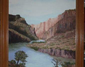 Oil landscape painting on canvas of canyon with cliffs