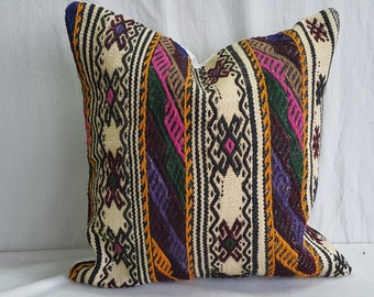 "Kilim Pillow, Pillow Cover, Feet1'6""×1'6"" 50×50cm, Decorative Kilim Pillow, Cushion Cover, Throw Pillow, Tribal Pillow, Turkish Kilim Pillow"