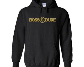 Boss Dude, Metallic Gold, Mens Black Hoodie, Baka Dots Style, Boss Dude Hoodie, Warm Black Hoodie, Mens hoodie Gift, anime gift, otaku gift
