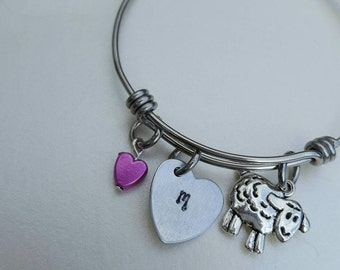 Girls bangle //Initial bangle with charm for the little Ladies //Adjustable bangle for little Girls .