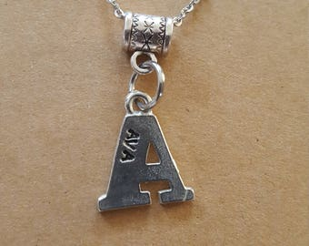 Initial necklace // Gift for Her // Pewter letter Necklace // Mother's Day Gift.