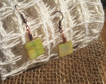 Chartreuse Square Earrings