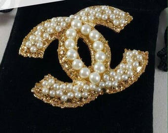 Elegant Faux White Pearl Brooch Gold Tone Brooch letter buckle style- Wedding Bridal Designer inspiration Brooch Pins