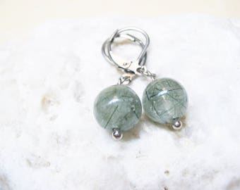 Green Rutile Quartz Earrings Rutilated Quartz Earrings Charm Earrings Gemstone Jewelry Rutilated Quartz Charm Healing Crystal Spiritual
