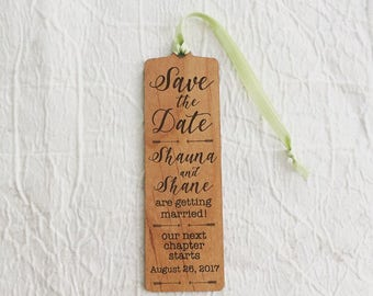 Engraved Wood Save the Date Bookmark - Rustic Wedding