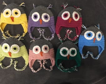 Owl Hat  You pick the color. Size Newborn to Toddler.  Braids