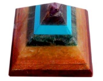 Amazing 45MM Seven Chakra Specimen Handcarved Healing Power Reiki Pyramid
