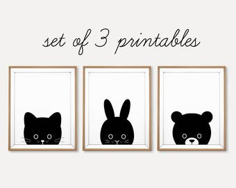 Animal Nursery Set, Nursery Set Print, Nursery Printable, Printable Animal Set, Black and White Nursery, Baby Animal Print, Cat Rabbit Bear