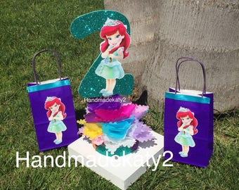"""Princess Mermaid  of Disney cake topper or centerpiece decoration toddler with number """" stick only""""."""