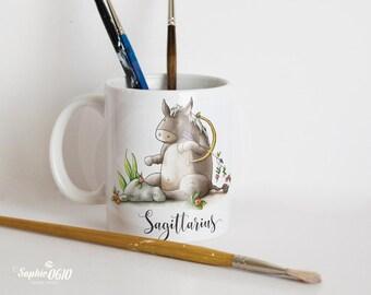 Sagittarius mug, horoscope mug, zodiac sign mug, coffee mug, tea mug, coffee cup, watercolor illustrated mug, funny mug, gift mug, donkey