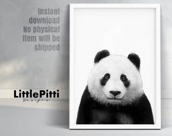 Panda gifts, panda print, panda nursery art, panda wall art, panda bear print, digital print, cute panda, panda nursery,  black and white