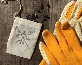 Heirloom Seed Pouches: Dig, Sow, Love, Grow (sets of 3)