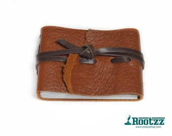 Leather journal pocket size brown - journal - diary - travelbook- notebook -