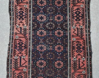Antique Baluch rug, Tribal rug, Vintage Persian rug – 3'3 x 5'5 - 99 x 165 cm. - Free shipping!