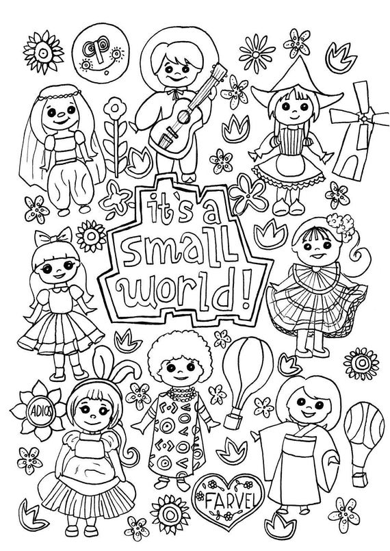 Its a Small World Coloring Page Digital Download Disney