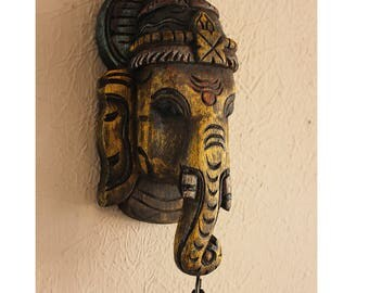 Lord Ganesha Wooden Sculpture, Natural Vegetable Dyes , 22 cm x 12 cm x 7 cm, Kail Wood Craft, Handcrafted Ganesha Wall Hanging, Wood Craft
