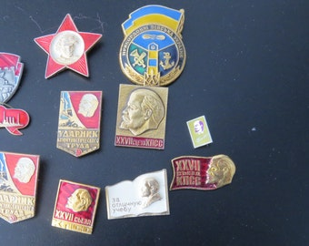 Vintage Red Army USSR Soviet Pin Badges 1970's Collection Lenin