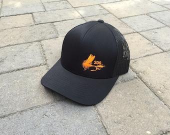 Area Code Art - 208 Area Code, Fly Fishing Hat Snapback Trucker Hat, Fishing Gift,  Fishing Gear, Idaho, Fly Lure, Fly Fishing Idaho