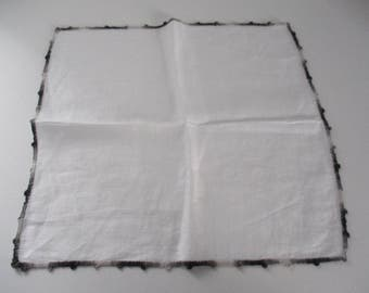 Vintage White Handkerchief With Black Gray White Crocheted Edge