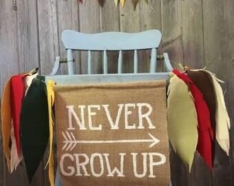 Never Grow Up Banner, birthday banner, shower banner, room decor, nursery decor, photo prop, teepee topper