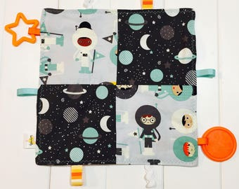 Boy or Girl Sensory Crinkle Taggie with Teether and Ribbons. Grey and Teal Astronauts, Planets and Stars. Teal, Orange, Grey and White Minky