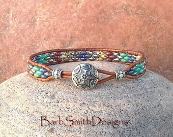 Turquoise Silver Beaded Leather Wrap Bracelet - The Skinny One in Aztec - Custom size it!