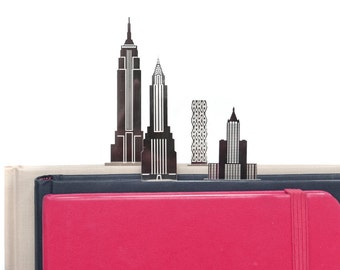 New York city skyscraper skyline, architectural bookmark set