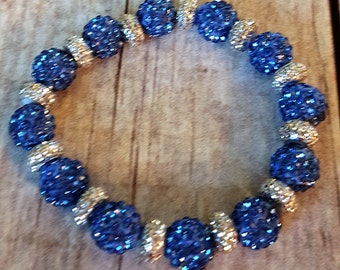 Blue and Silver Shambala Bracelet