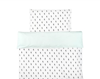 Monochrome Baby Bedding / Pastel Mint Bedding / Black And White Crib Bedding Set / Lighting Bolts Duvet / Monochrome Nursery / Baby Duvet
