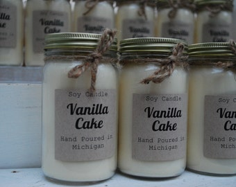 Vanilla Cake Hand Poured Scented Soy Candle 8oz Jar