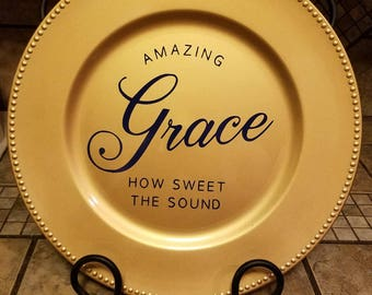 Amazing Grace, Decorative Charger, Decorative Plate, Charger, Chargers, Plate, Plates, Gifts, Gifts under 20, Gifts under 15, Wedding Gifts