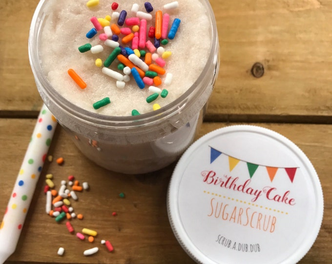 Homemade Birthday Cake Sugar Scrub: Lake Life Candle Co. & scrub.a.dub.dub. Made in WI