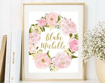 Custom Name Art Print Gold Girl Nursery Decor Roses Wreath print Kids Wall Art New Baby Girl gift idea Pink girl wall art Custom baby name