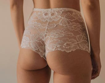 Ava Brief Handmade White Floral Flowers High Waist Knickers from Isadore Intimates London